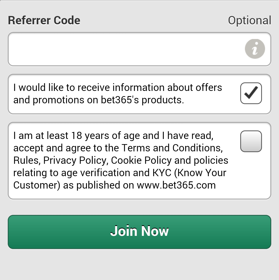box for referrer code mobile sign-up form