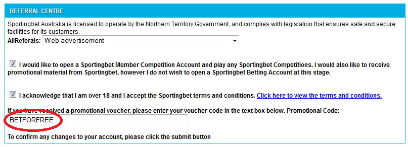 sportingbet.co.au promo code