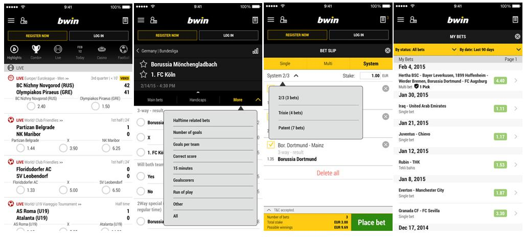 screenshot bwin sportsbook app