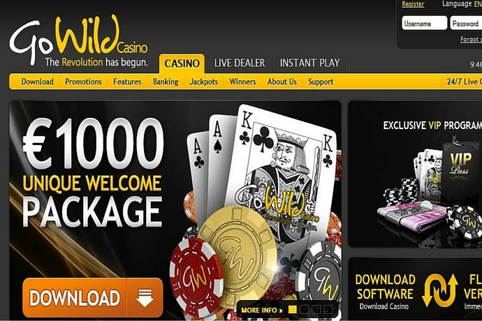 go wild casino register