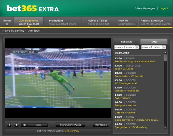 screenshot of live streaming video feed for football on bet365