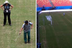 The heat is so intense in Manaus the grass had to be spray-painted