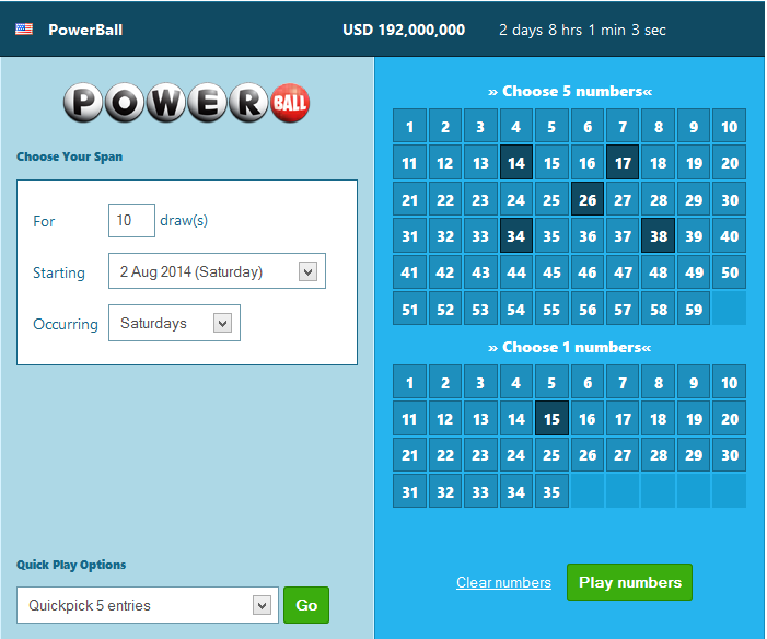 a screenshot of playing PowerBall (USA) with the ticketing service