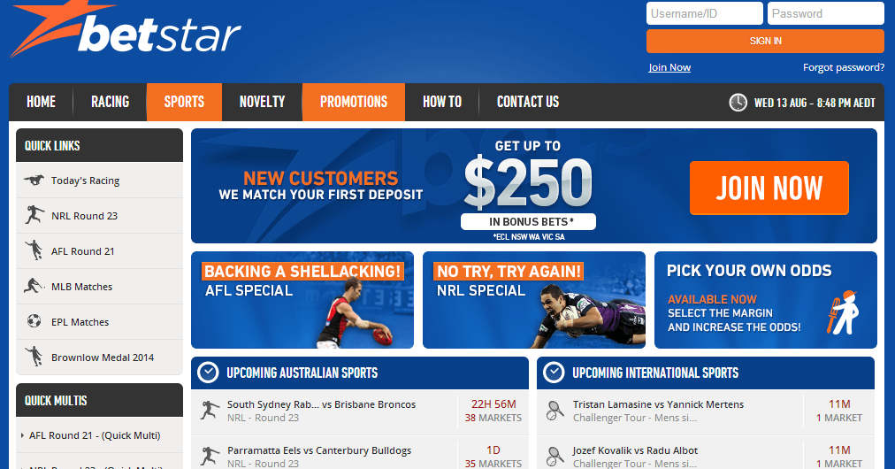 Betstar homepage screen shot