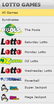 Selection of Lotto games screenshot