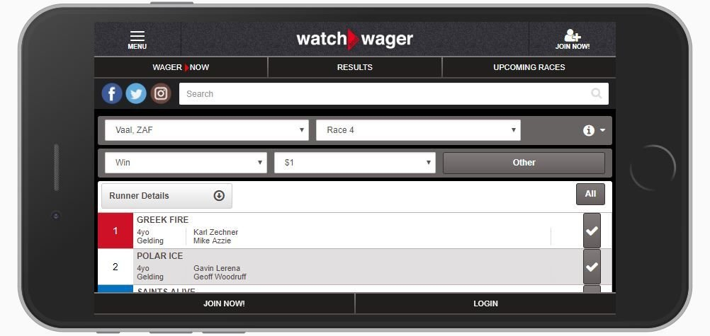 Watch and Wager Mobile Site