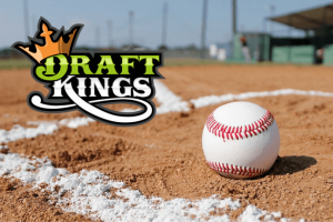 baseball field, baseball and draftkings logo