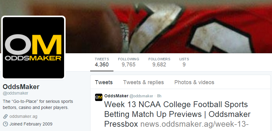 Oddsmaker Twitter Header Screenshot