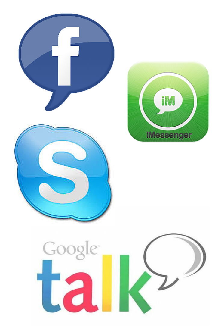 facebook, skype, gmail and i chat logos