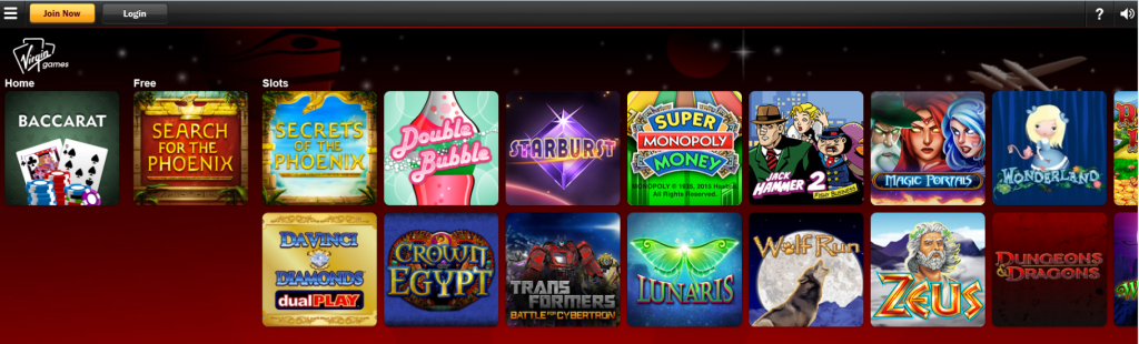 Here is a screenshot of the Virgin iPad Casino site