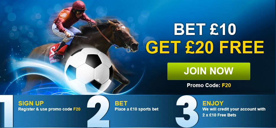 Here's the Bet £10 Get £20 Free promotional image