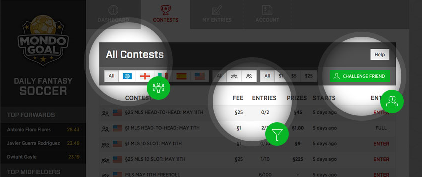 Here are the different contests available on MondoGoal
