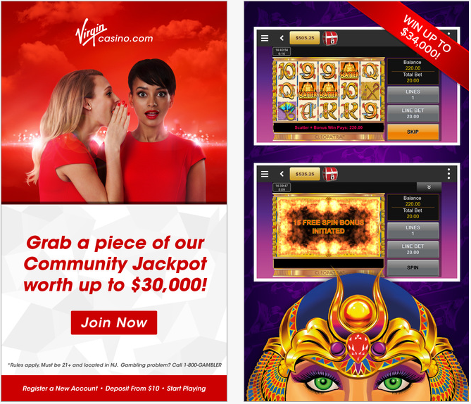 Here are two Virgin Casino app screenshots