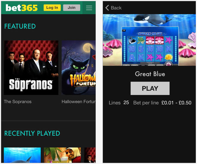Here is a screenshot of the Bet365 Casino app
