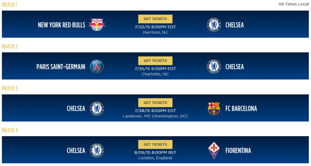 Here is a picture of Chelsea FC's ICC fixtures