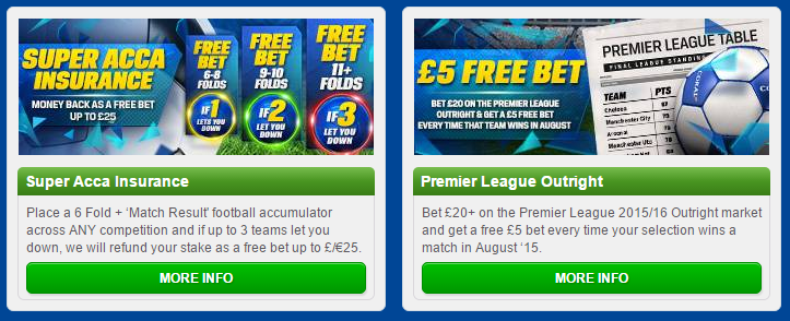 Here are two of Coral's sports promotions