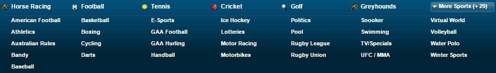 Here is William Hill's list of sports