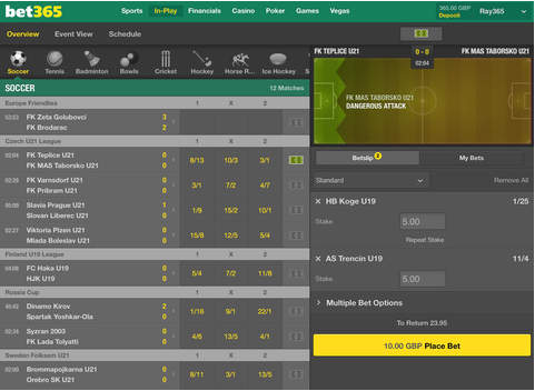 Bet365 ipad football