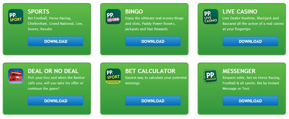 Here are the available Paddy Power Android apps