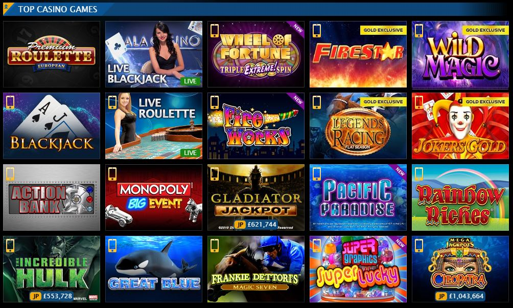 Here are some of the Gala Casino games