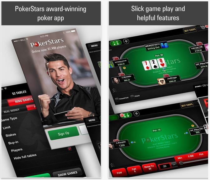 Here is a screenshot of the PokerStars mobile app