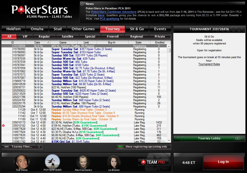 Here is a screenshot of the PokerStars lobby