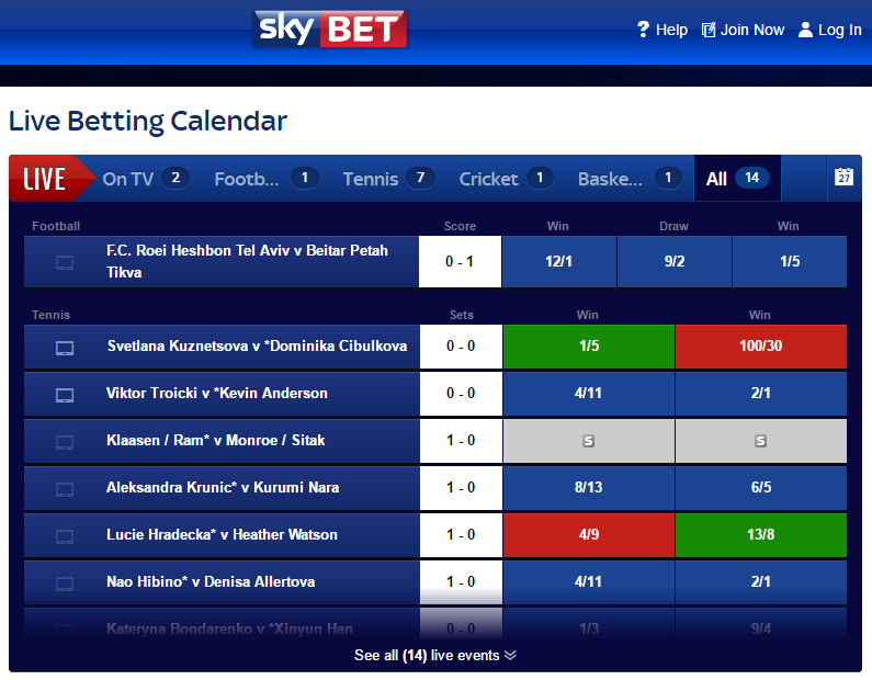 Sky Bet in-play betting
