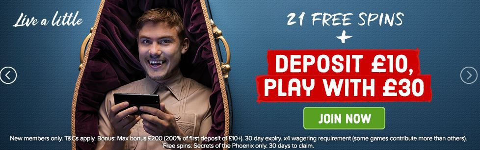Deposit £10 Play with £30 plus 21 free spins