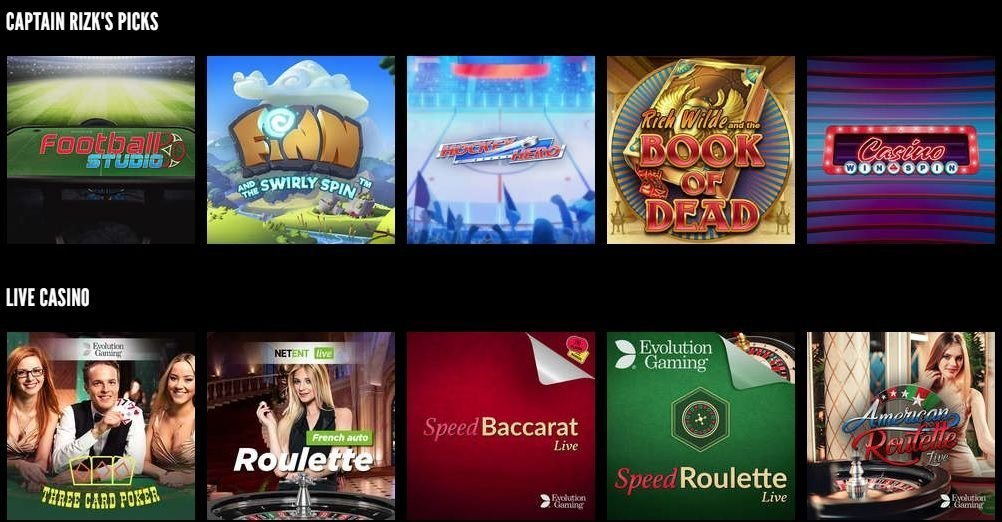 rizk casino games range