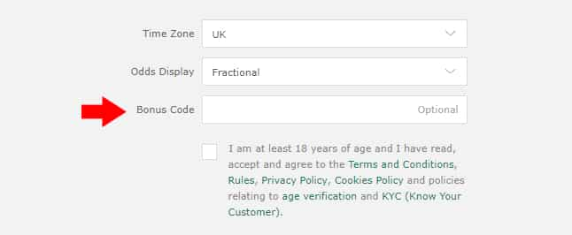 bet365 bonus code field registration form