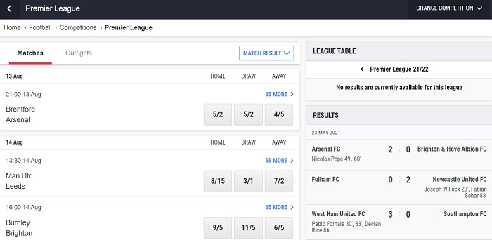Betting on the Premier League with Ladbrokes