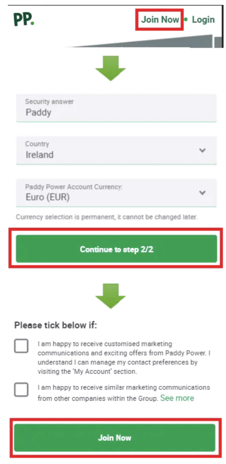 paddy power open account mobile