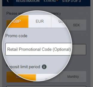 Location of the Coral promo code box