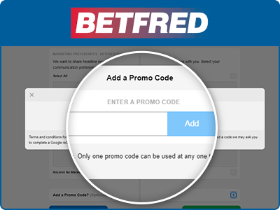 Location of the Betfred promo code box